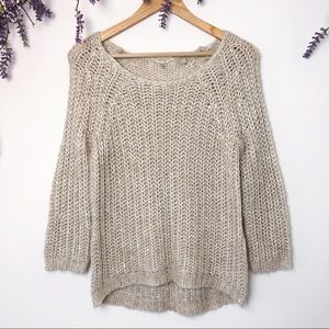 Knitted & Knotted Cream Shimmer Sweater